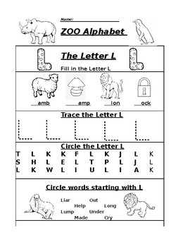 The Letter L Zoo Alphabet Worksheet