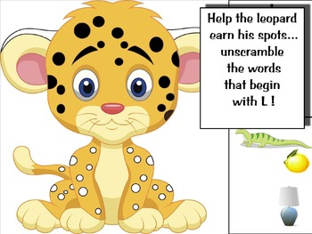 Phonics activity and learning game featuring the letter Ll
