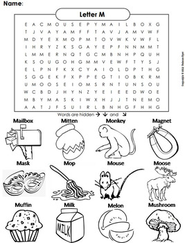 Phonics Worksheet: Beginning Letter Sounds: Letter Of The Week M Word Search