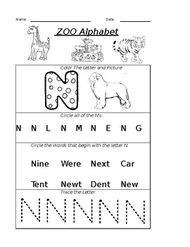 The Letter N Worksheet