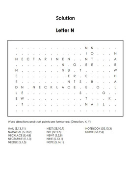 Phonics Worksheet: Beginning Letter Sounds: Letter of the Week N Word Search
