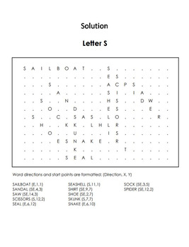 Phonics Worksheet: Beginning Letter Sounds: Letter of the Week S Word Search