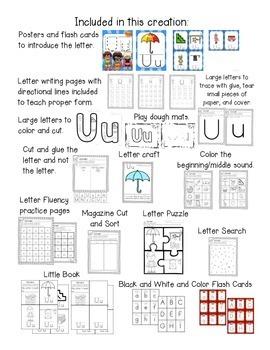 Alphabet Worksheets for the Letter U