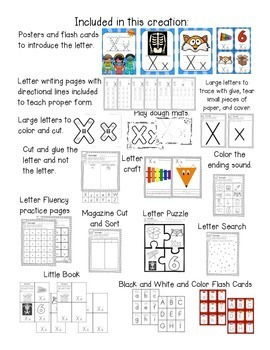 Alphabet Worksheets for the Letter X