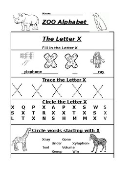 the letter x alphabet zoo worksheet by pointer education tpt. Black Bedroom Furniture Sets. Home Design Ideas