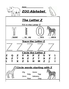 the letter z alphabet zoo worksheet by pointer education tpt. Black Bedroom Furniture Sets. Home Design Ideas