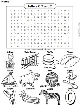 phonics worksheet beginning letter sounds the letters x y and z word search. Black Bedroom Furniture Sets. Home Design Ideas