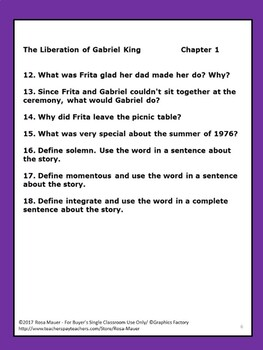 The Liberation of Gabriel King by K. L. Going Book Unit