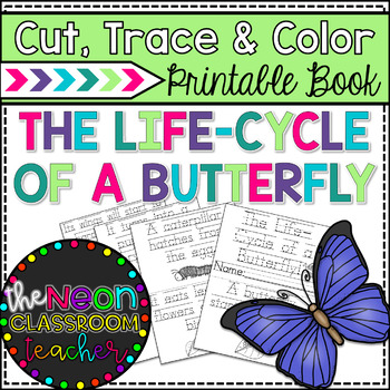 """The Life-Cycle of a Butterfly!"" Cut, Trace & Color Printable book!"