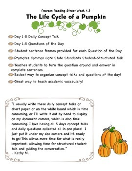 The Life Cycle of a Pumpkin Pearson Reading Street Unit 4.2 Common Core Packet