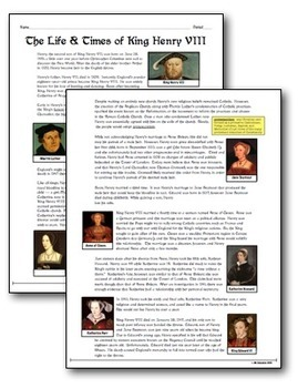 King Henry VIII & His Life and Times! Students investigate this polarizing King!
