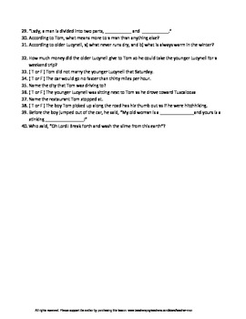The Life You Save May Be Your Own by Flannery O'Connor Guided Reading Worksheet