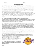 The Life and Death of Kobe Bryant - Reading Level 5.8