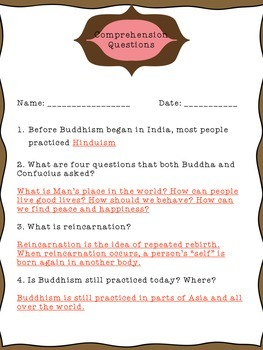 The Life and Teachings of Buddha: CCSS reading, writing, comprehension activity