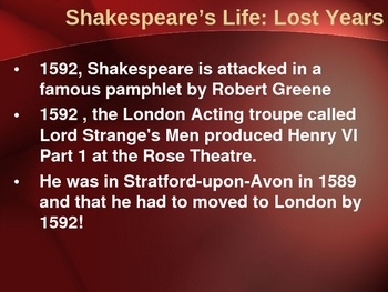 The Life and Times of Shakespeare Intro. PowerPoint