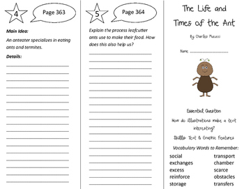 The Life and Times of the Ant Trifold - Journeys 4th Grade Unit 3 Week 4 (2011)