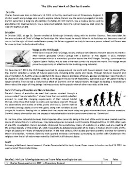 The Life and Work of Charles Darwin - Reading Comprehension Worksheet