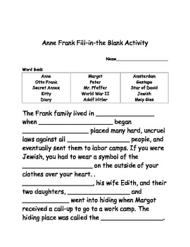 The Life of Anne Frank Activities Packet (Grades 3-6)