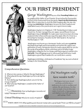 The Life of George Washington: Article with Vocabulary, FREE for Presidents' Day