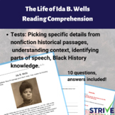 The Life of Ida B. Wells Reading Comprehension and History