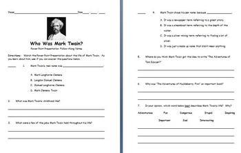 The Life of Mark Twain Power Point Presentation
