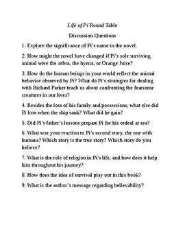 The Life of Pi Socratic Seminar/Round Table Discussion Questions