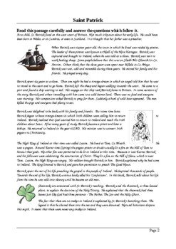 St. Patrick - Reading Comprehension and Activity Pack