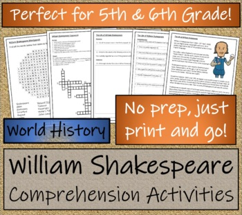 The Life of William Shakespeare - 5th & 6th Grade Close Reading Activity
