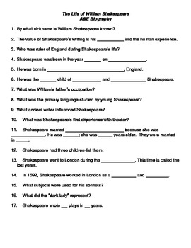 the life of william shakespeare handout for the a e biography video