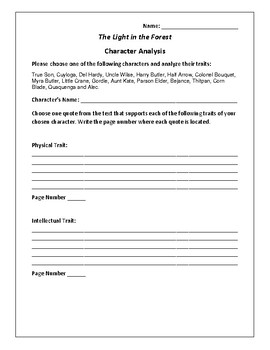 The Light in the Forest - Character Analysis Activity - Co