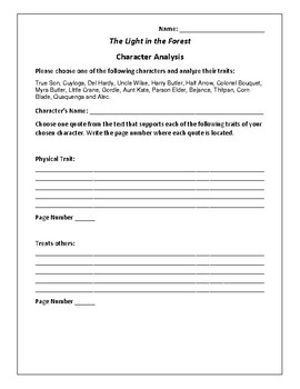 The Light in the Forest - Character Analysis Activity - Conrad Richter