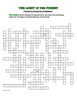 The Light in the Forest: Prereading Crossword--50 Words!