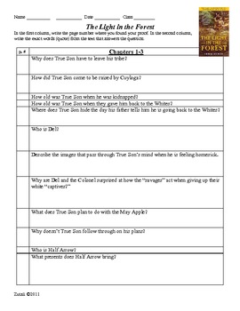 Light in the Forest Study Guide Questions