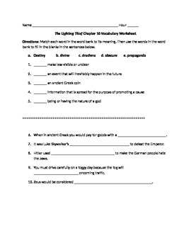 The Lightening Thief Chapter 10 Vocabulary Worksheet