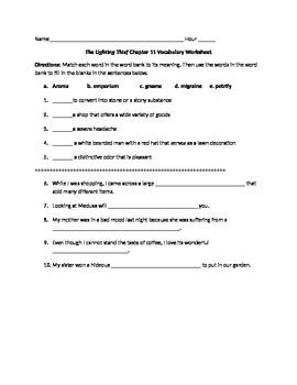 The Lightening Thief Chapter 11 Vocabulary Worksheet