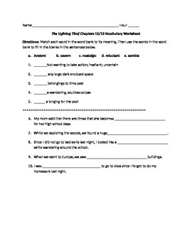The Lightening Thief Chapter 12 and 13 Vocabulary Worksheet