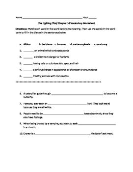 The Lightening Thief Chapter 16 Vocabulary Worksheet