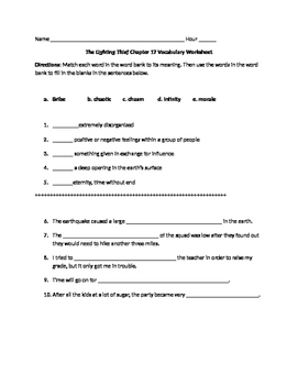 The Lightening Thief Chapter 17 Vocabulary Worksheet
