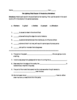 The Lightening Thief Chapter 19 Vocabulary Worksheet