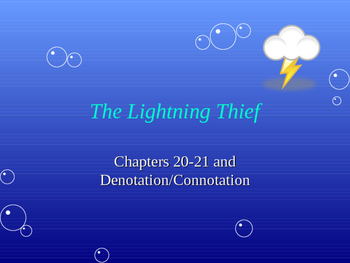 The Lightening Thief Chapter 20 and 21 PowerPoint