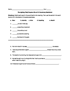 The Lightening Thief Chapter 20 and 21 Vocabulary Worksheet