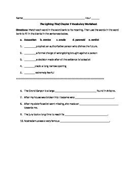 The Lightening Thief Chapter 9 Vocabulary Worksheet