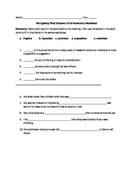The Lightening Thief Chapters 14 and 15 Vocabulary Worksheet