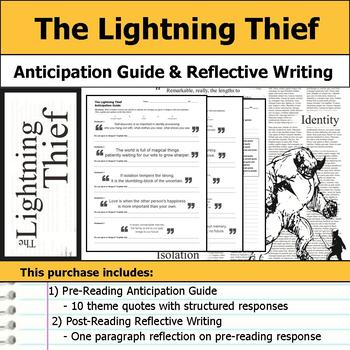 Percy Jackson The Lightning Thief - Anticipation Guide & Reflection