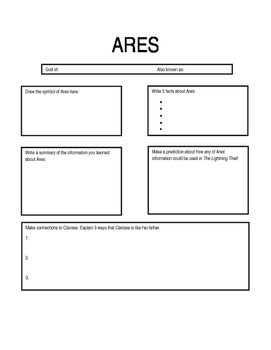 The Lightning Thief  - Ares Worksheet