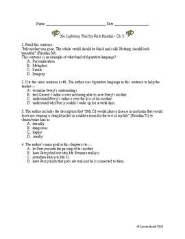 The Lightning Thief Ch. 5 - Test Prep / Study Guide Questions