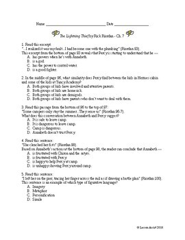 The Lightning Thief Ch. 7 - Test Prep / Study Guide Questions