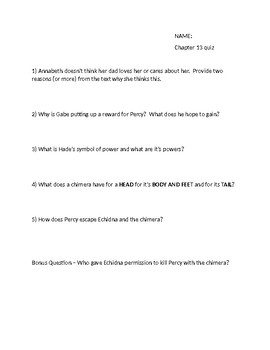 The Lightning Thief Chapter 13 quiz