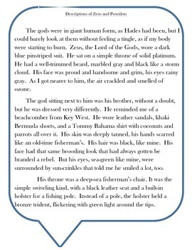 The Lightning Thief Chapter 21 Activity - Zues and Poseidon Excerpt