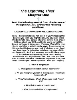 The Lightning Thief Chapter One Study Guide